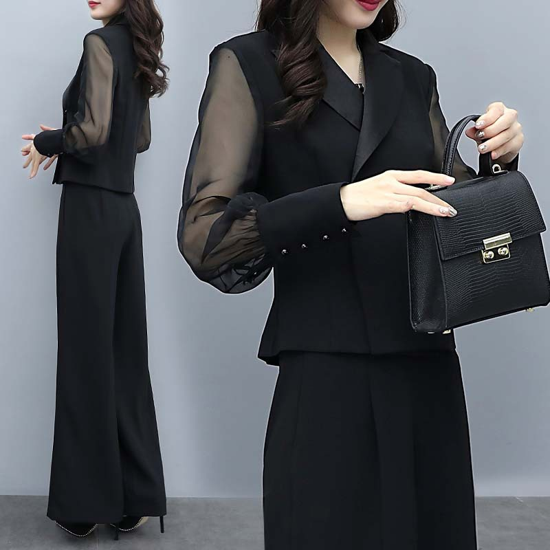 Hbd786b2b18464d8cbcf45dbe597be6e2t - Autumn Black Office Two Piece Sets Outfits Women Plus Size Long Sleeve Tops And Wide Leg Pants Korean Elegant Matching Suit