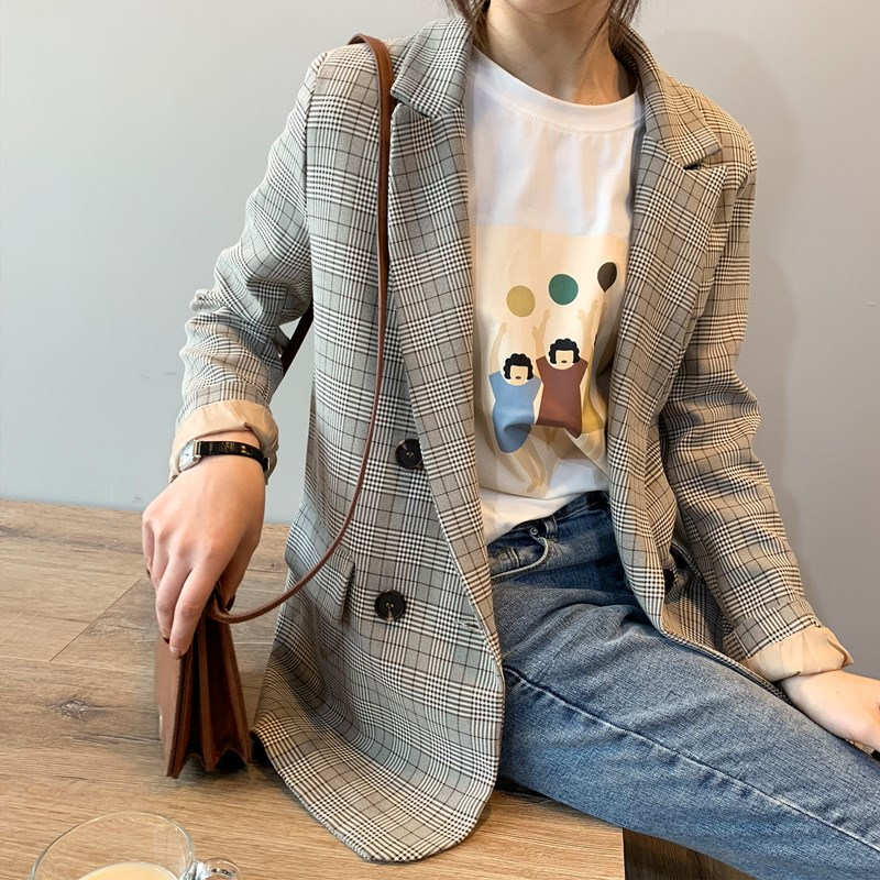 Vintage Women Plaid Loose Blazer Long Sleeve Double Breasted Notched Collar Female Suit Jacket Autumn Outwear Tops JK249