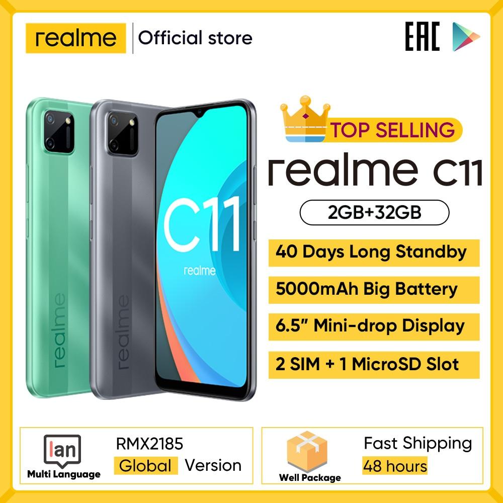 Realme C11 мобильных телефонов 6,5 дюймов 5000 мА/ч, большая Батарея 40 дней в режиме ожидания 3-карты Android смартфон 13MP Камера телефон