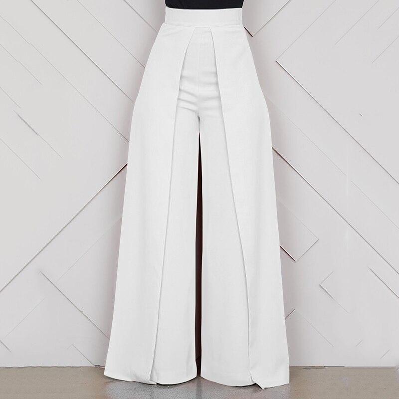 Elegant High Waist Women's Trousers 2019 Autumn Winter White Black Office Baggy Long Back Zipper Wide Leg Pants pantalon femme