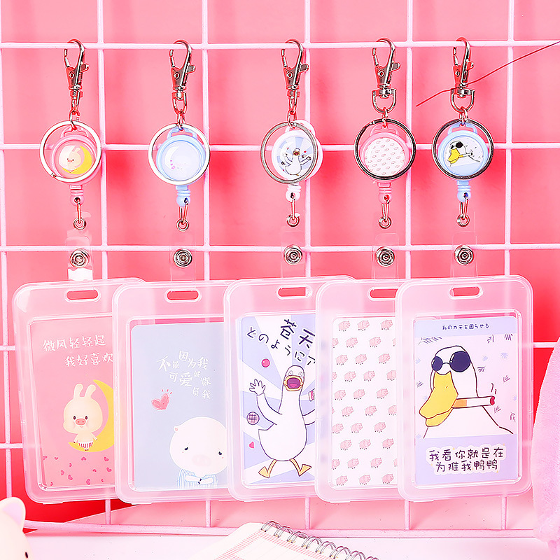 Telescopic transparent keychain campus certificate bus card student small fresh meal card protection access card set female