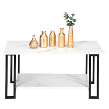 HT-JJ011 Coffee Table Artisasset 2 Layers 1.5cm Thick MDF Imitation Marble Rectangle Tabletop Iron Coffee Table White