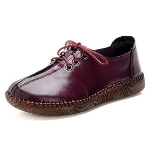 Image 3 - Gktinoo 2020 봄 가을 손수 만든 정품 가죽 플랫 캐주얼 신발 여성 낮은 굽 2.5cm 소프트 하단 레이스 업 여성 신발 플랫