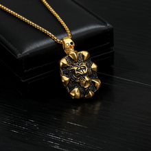 Hiphop Dragon Claw Pendant Vintage Tiger Head Skull Necklace Punk Men Jewelry Gold Long Chain Choker Titanium Steel Collares BFF