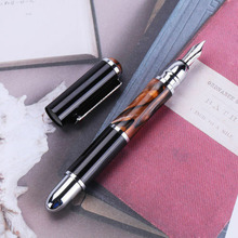 Shanghai Fuliwen 831 Fountain Pen Amber Acrylic Resin Metal Ink Pen Medium nib 0.7mm Stationery Office school supplies Writing