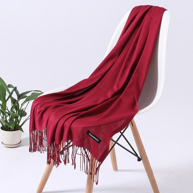 Однотонный кашемировый шарф для женщин новые длинные мягкие шали и палантины пашмины модные хиджаб с кисточками женские шейные шарфы - Цвет: 110g wine red