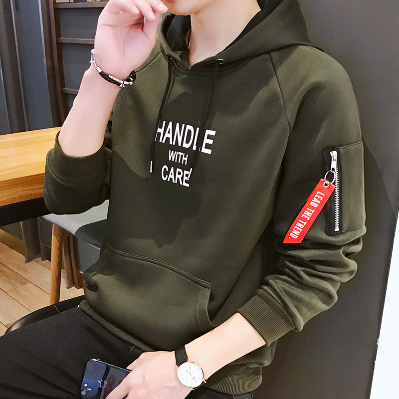 Fashion Men Hoodie Printed HANDLE Korea Hooded Hoodies Male With Side Zipper Pockets Teenage Pullovers Sweatshirts Men Clothing