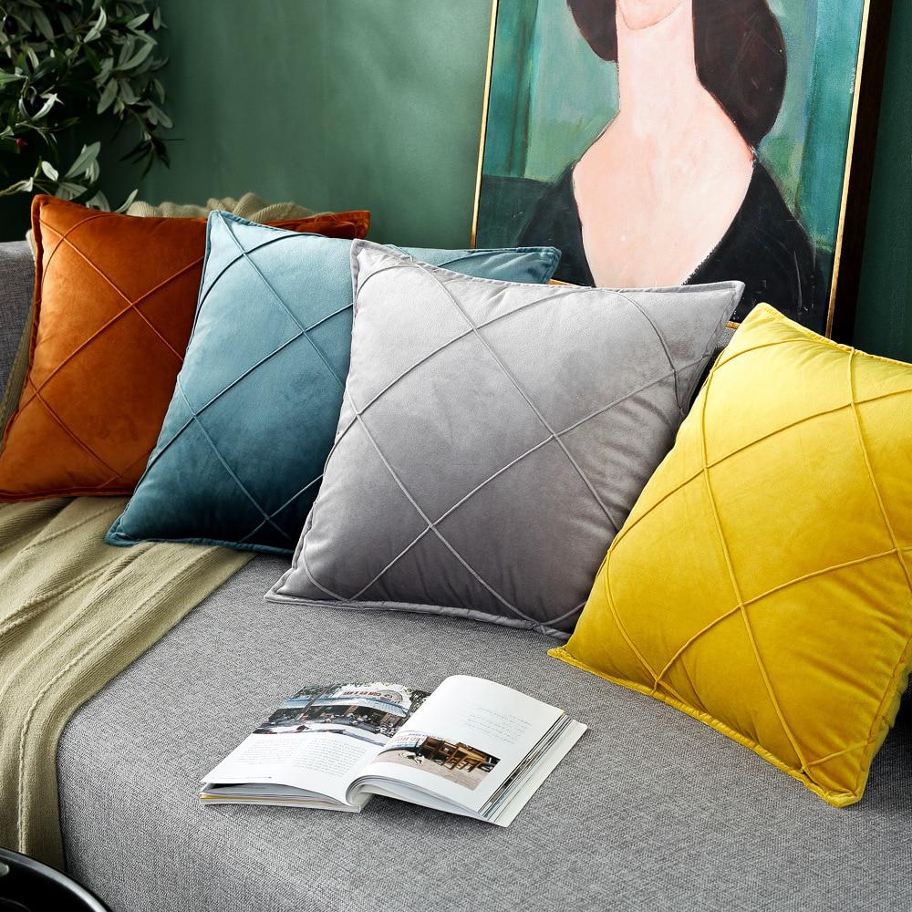 Новый роскошный бархатный чехол для подушки с художественной вышивкой в клетку, желтого, синего, розового цветов, наволочка для подушки, чех...
