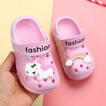 Jednorożec kapcie dla chłopca dziewczyna tęczowe buty 2019 letni maluch zwierząt dzieci odkryty dziecko kapcie pcv Cartoon kapcie dziecięce