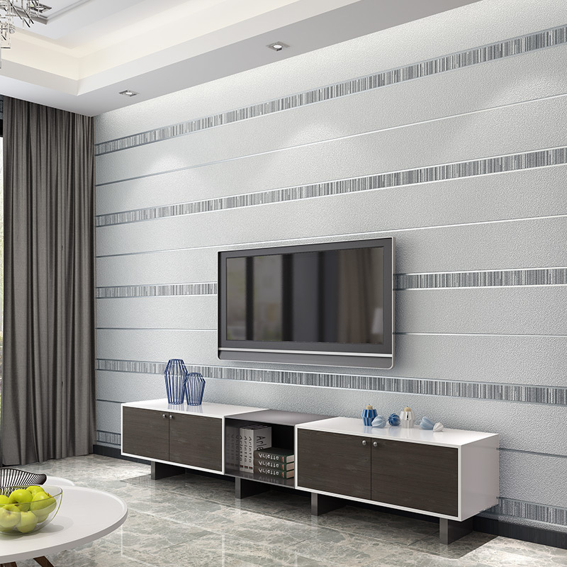 3D Minimalist Modern Suede Non-woven Wallpaper Horizontal And Vertical Stripes Bedroom Living Room Television Background Wall Wa