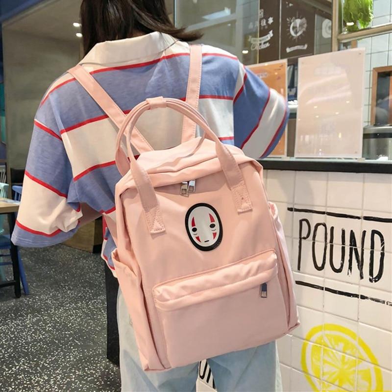 New Spirited Away No Face Man Backpack Kaonashi Women Girls Kids Fashion Bags Girl School Bag