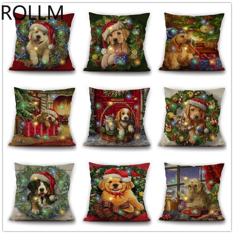 Christmas Pillowcase New Cute Cartoon Christmas Cat And Dog Series Led Bright Linen Pillowcase Dogs Pillow Bone Shape Car Pillow Diamond Painting Cross Stitch Aliexpress