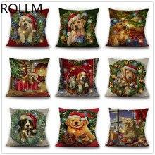 Christmas Pillowcase New Cute Cartoon Cat and Dog Series LED Bright Linen Dogs Pillow/Bone-shape Car Pillow