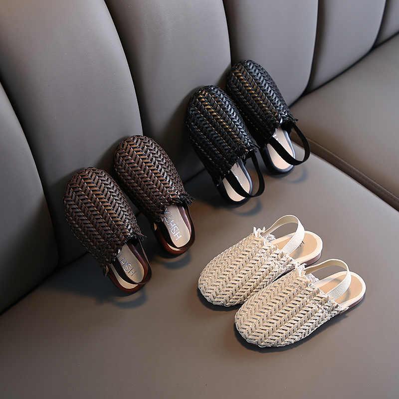 ULKNN 2020 Tessitura Sandali Ragazze Coreane Bambini Coreani Casual Scarpe Retrò Set Piede Baotou Sandali E Ciabatte Bambino Commercio