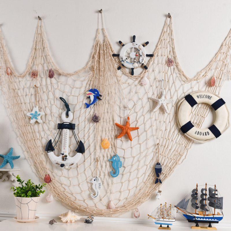 100*200CM Fishing Net Decor Bar Home Wall Decor Nautical Style Blue White Fish Nets Decoration Rede De Pesca Filet De Peche