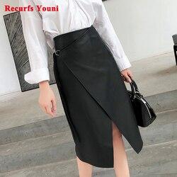 Falda de cuero auténtico para Mujer, con personalidad, asimétrica, Simple, de piel entera, con cordones, larga, Saia para Mujer, abrigo negro, ropa de calle Jupe