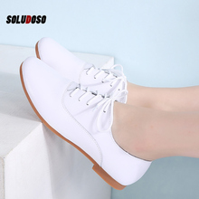 SOLUDOSO 2020 Spring Women Oxford   Ballerina Flats Shoes Women Genuine Leather Shoes Moccasins Lace Up Loafers White Shoes genuine leather ladies flats sneakers shoe women casual loafers shoes female hollow moccasins white lace up canvas boat shoes