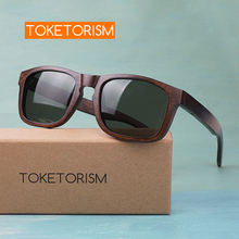 Toketorism stylish handmade rectangle wooden sunglasses polarized mens glasses vintage  0403