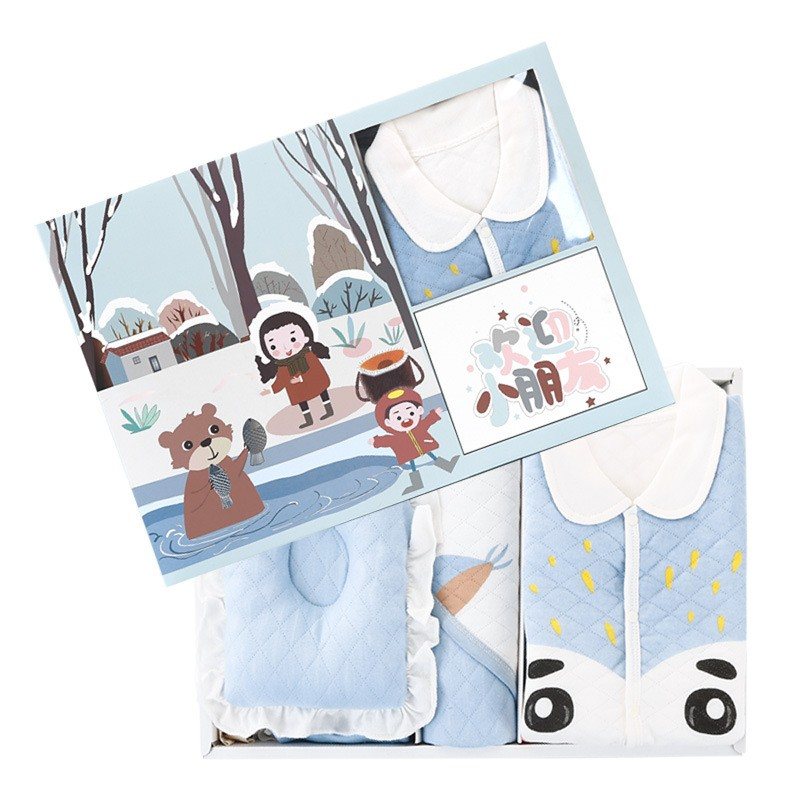 Newborn Clothes Baby Winter Pure Cotton Clothes Suit 0-6 Months Infant Warm Thick Set Baby Boys Girls Set Gift Unisex With Box
