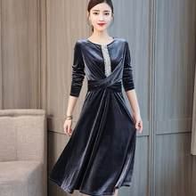 Ropa Mujer 2020 Robe Vintage Dresses Velvet Women's Plus Size Clothing A-line Middle Age Dress Chinese DC554(China)