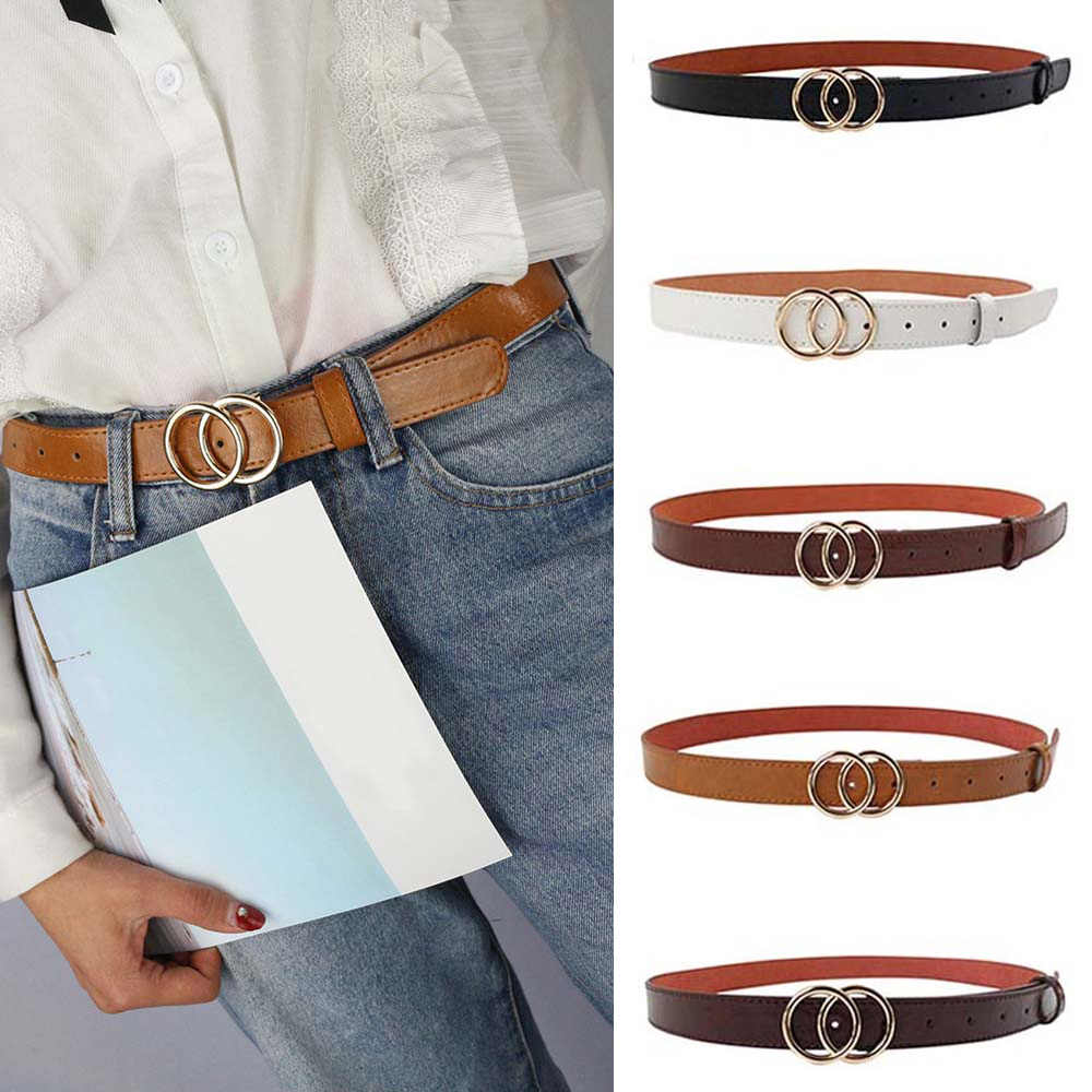 Women Ladies Buckle Braided Belt Faux Leather Dress Skinny Waistband