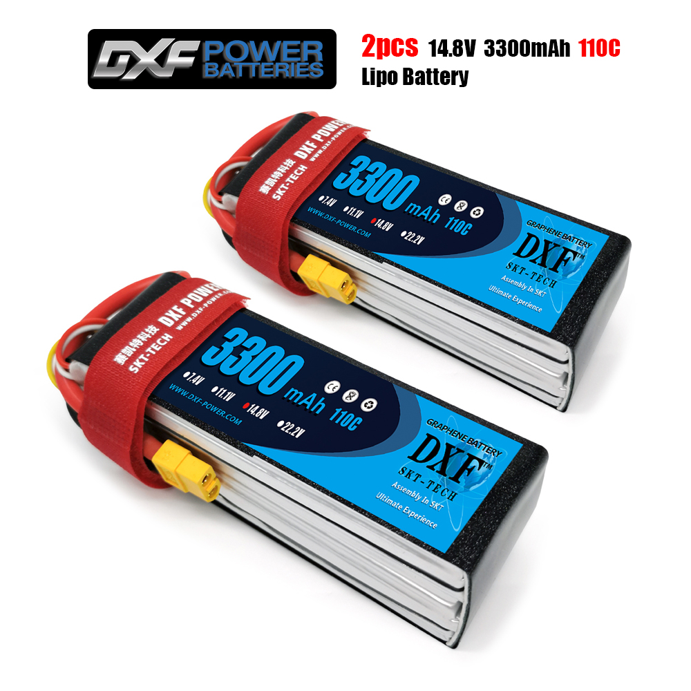 DXF Lipo Battery <font><b>4S</b></font> 14.8v <font><b>3300mah</b></font> 110C Max 220C <font><b>4S</b></font> LiPo batteries For RC Helicopter car Boat Quadcopter FPV Boat image