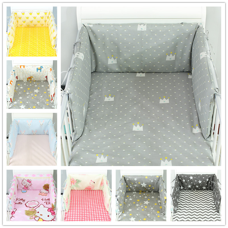 190x30cm Baby Bed Crib Bumper U-Shaped Detachable Zipper Cotton Newborn Bumpers Infant Safe Fence Line Bebe Cot