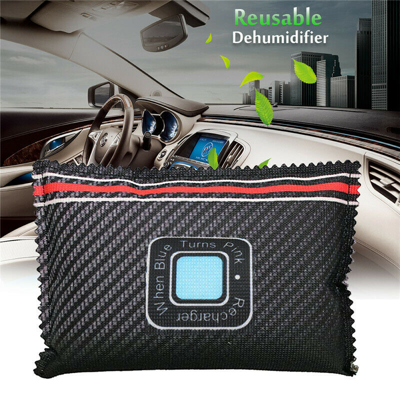 1pc 18 * 10CM Car Desiccant Dehumidifier Bags Anti Mist Moisture Absorbing Bamboo Charcoal Dehumidification Bag Black Silicone