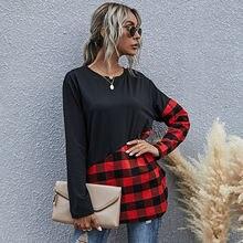 2020 Новая Осенняя модная женская черно красная Лоскутная футболка