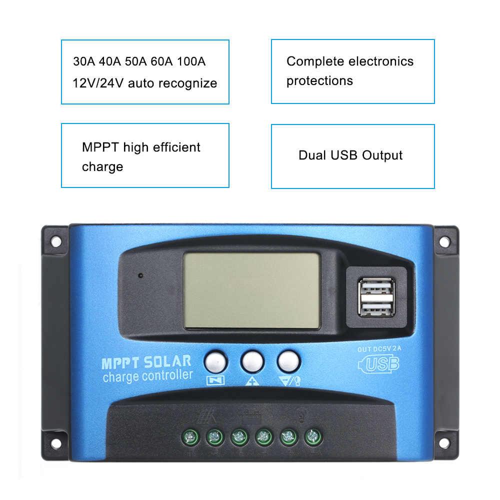 60A/50A/40A/30A/20A/10A 12 V/24 V Auto Beradaptasi MPPT Solar biaya Kontroler LCD Dual USB 5V Output PWM Solar Charge Controller