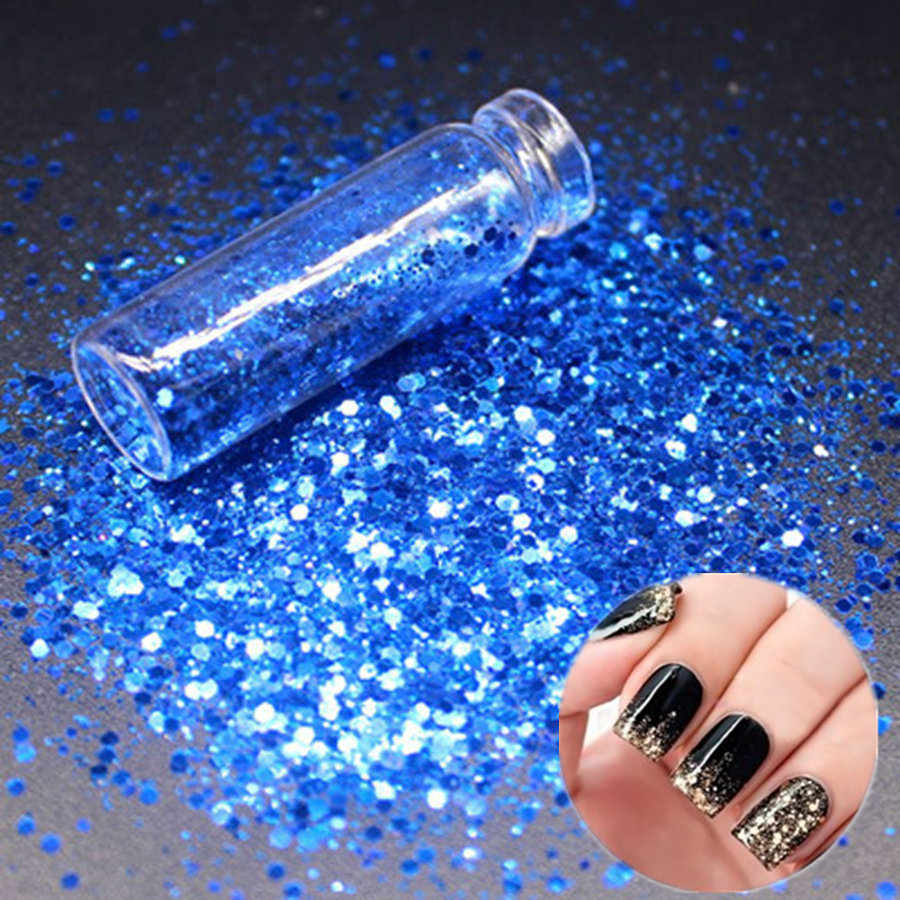 1Pcs Dark Blue Ultrathin Sequins เล็บ Mirror Glitter ผงผงสีเล็บขัด Chrome Flakes Pigment ฝุ่นตกแต่งเล็บ