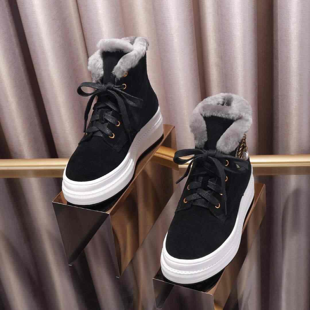 Inverno Stivali da Neve Delle Donne di Lana Botas Mujer Caviglia Stivali per Le Donne di Spessore Scarpe con Suola Donna Casual Botas Feminina Lace Up scarpe da Donna