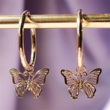 New Fashion Gold Silver Color Hollow Butterfly Stud Earrings Simple Temperament Personality Small Women's Earrings Party Jewelry