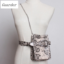 Guarder brand waistband for women pu leather shoulder bag snake skin womens fashion waist small phone personal GUA0014