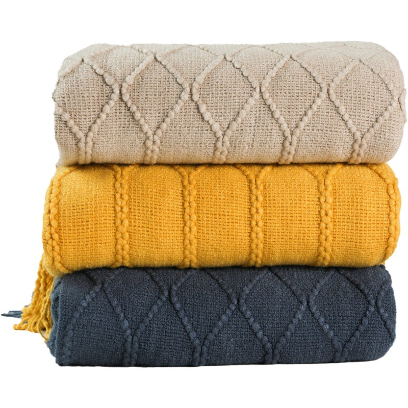 Inya Knitted Blanket Solid Color Waffle Embossed Blanket Nordic Decorative Blanket for Sofa Bed Throw Chunky Knit Throw Blanket
