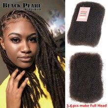 Mèches Afro brésiliennes naturelles Remy crépues bouclées – Black Pearl, couleur naturelle, pour tressage, 1 lot de 50g/pièce, sans trame