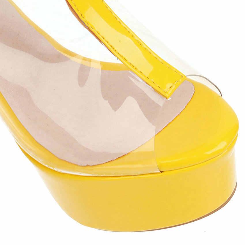 QUTAA 2020 Peep Toe bayanlar pompaları platformu fermuar kadın ayakkabı şeffaf PU deri serin çizmeler ince yüksek topuklu sandalet boyutu 34-43