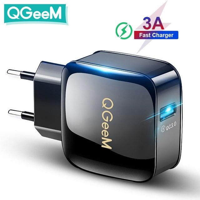 QGEEM QC 3,0 USB зарядное устройство Быстрая зарядка 3,0 зарядное устройство для телефона iPhone 18W3A быстрое зарядное устройство для Huawei Samsung Xiaomi Redmi EU US Plug