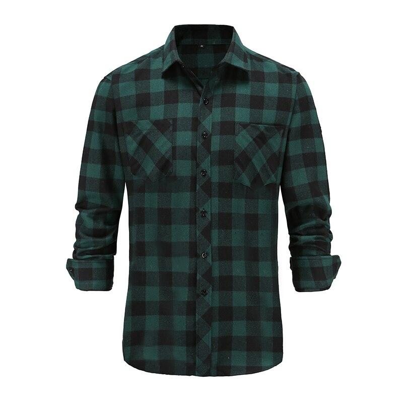 Мужская рубашка в клетку, осенняя рубашка с длинными рукавами и воротником на пуговицах, 2021