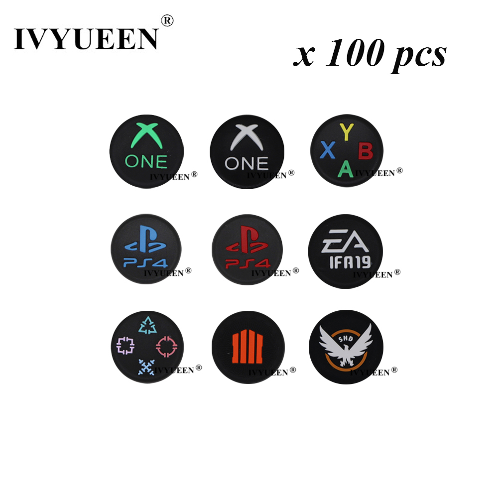 IVYUEEN 100 Pcs Silicone Analog Thumb Grips For Sony Dualshock 4 PS4 Pro Slim Controller Caps For XBox 360 One S Joystick Cover
