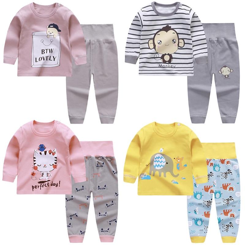 Random Color 2Pcs/Set Baby Clothes Thermal Underwear Suit Children Sleepwear Clothing Infant  Thin Warm Homewear