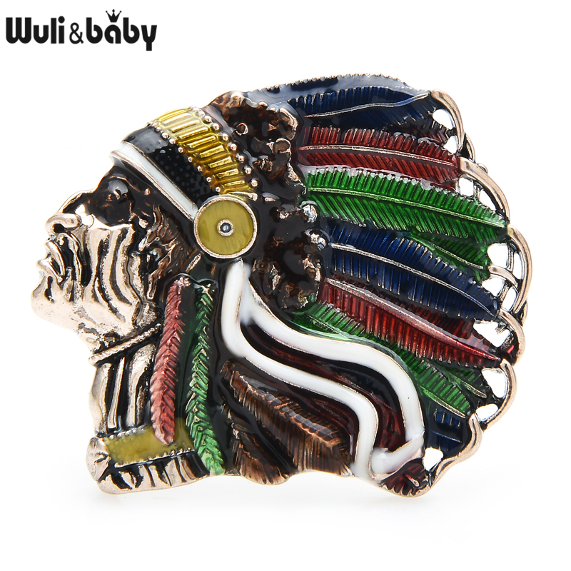 Wuli&baby Enamel Indian Pearson Brooches 2-color Figure Party Casual Brooch Pins For Women Men Jewelry Gifts