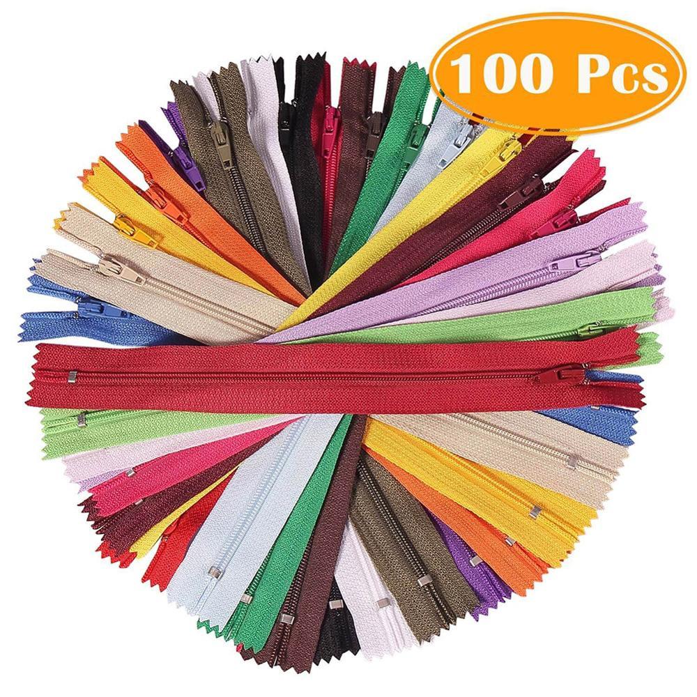100 Peças de Nylon Bobina Zippers 8/12 Polegadas 20 Colorido Cores Zíperes De Costura Suprimentos DIY para calças de brim, saia Sob Medida de Costura Artesanato