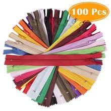 100 peças zíper de bobina de nylon 8/12 polegadas, 20 cores coloridas, suprimentos de zíper de costura para calças de bricolagem, saia alfaiate costura artesanato