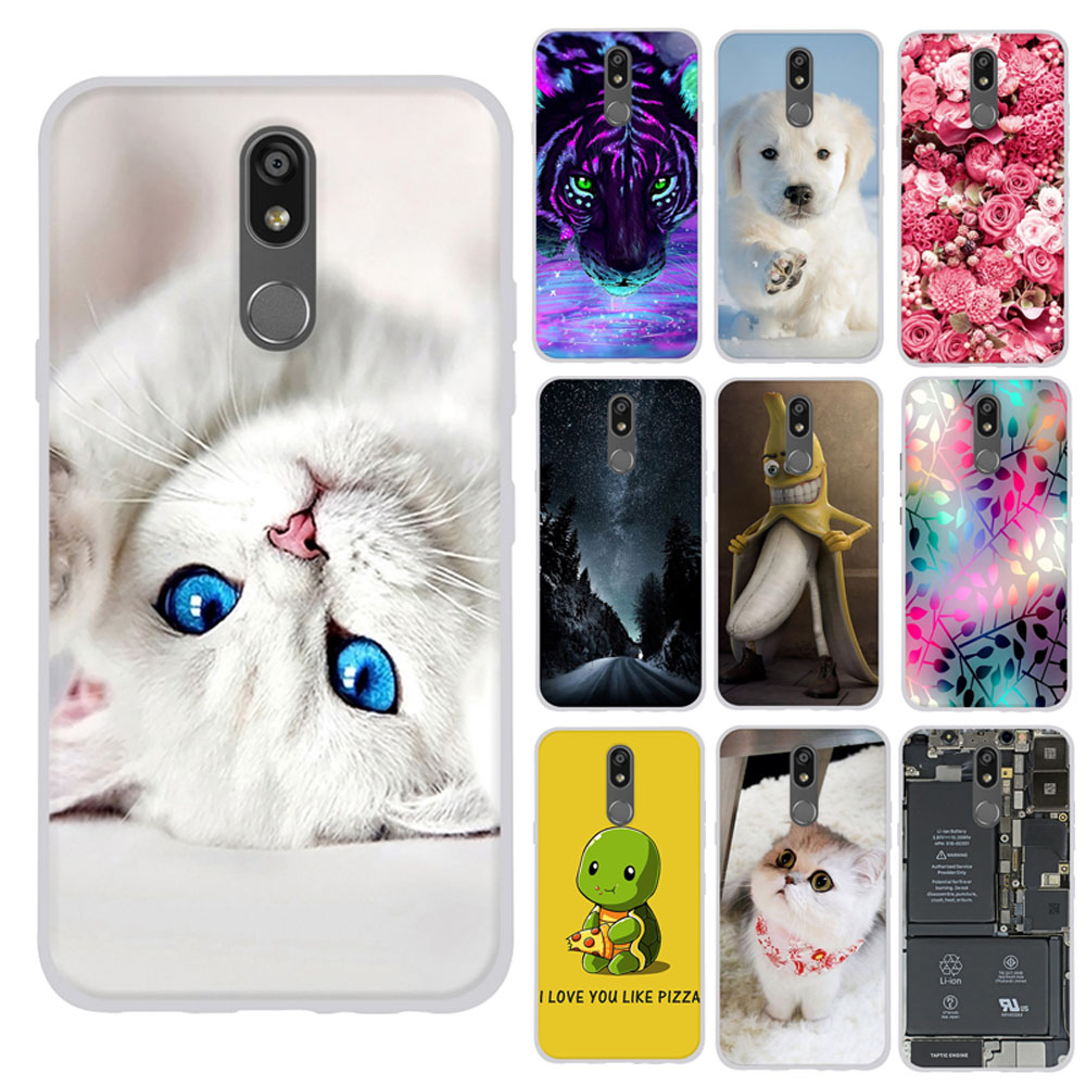 For LG K12 Plus Case Thin Silicone Back Bumper For LG K40 Cover Capa Romantic Pattern For LG X4 2019 Bag Bumper Case Cover