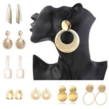 Alloy Drop Earrings for Women Geometric Simple Dangle Fashion Glossy Plated Long Earrings 1
