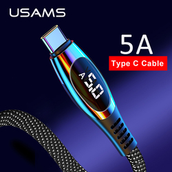 USAMS 5A typ C kabel do huawei Mate 30 pro P30 Xiaomi wyświetlacz LED kabel QC3.0 AFC szybko łądujący kabel danych do Samsung Note 9 w Kable do telefonów komórkowych od Telefony komórkowe i telekomunikacja na