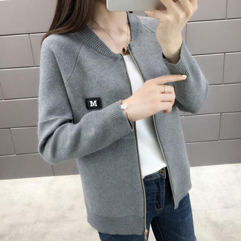 Women Cardigan Fashion Autumn Casual Long Sleeve zipper Short Knitted Sweater Cardigan Coat For LADY knit Jacket Tops фото