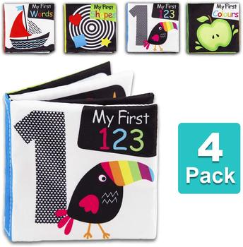 Baby First Soft Activity Cloth Book Set, High Contrast Black and White Interactive Crinkle Soft Book Bundle for Infant oxford first atlas activity book