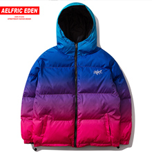 Aelfric Eden Gradient Mens Thick Parkas Fashion Streetwear Casual Warm Jacket Coats 2019 Harajuku Hip Hop Cotton Male Overcoats